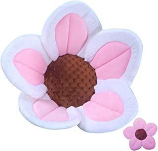 Baby Bath Flower Soft Cushion Non-Slip Safety Sink Insert Tub Creative Play-mat 0-12 Months, Includes Mini Bath Flower Scrubby Toy BPA Free (Baby Pink)