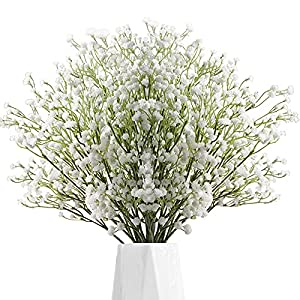 12 pcs Artificial Baby Breath Flower Gypsophila Fake Silicone Plant Babys Breath Fake Plastic Flower for Wedding Home Hotel Party Decorations-White