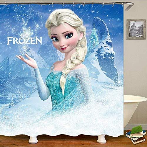 RTYRT Duschvorhang 3D 180 * 200cm Cartoon Nette Prinzessin ELSA Polyester Wasserdicht Badezimmer Duschvorhang