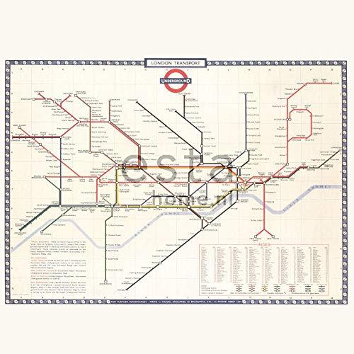 fotobehang Lodon transport map beige, rood en blauw - 158209 - van ESTAhome