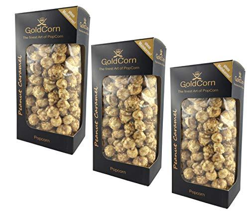 Gourmet Popcorn Erdnuss Karamell / Peanut Caramel Vorteilspaket 100 g x 3 Box Feinkost Snack   GoldCorn