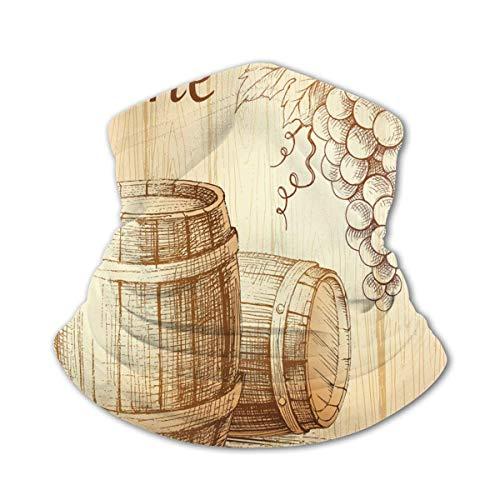 Verctor Kindergesichtsabdeckung Bandana Wein Holzfässer und Weintraube auf Holzhintergrund Botanik Erntethema Kunstwerk Brown Peach Face Mask