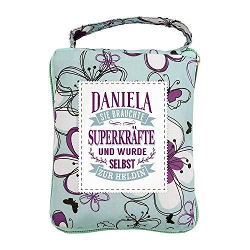 History & Heraldry Borsa per la spesa Daniela, borsa da spiaggia, borsa sportiva, motivo floreale, pratica, personalizzabile con nome e scritta