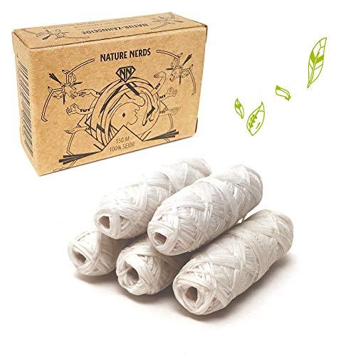 Nature Nerds – Nachfüllpack: plastikfreie Natur Zahnseide gewachst mit Candelilla – 5 Spulen zum Nachfüllen– 150 m (150)