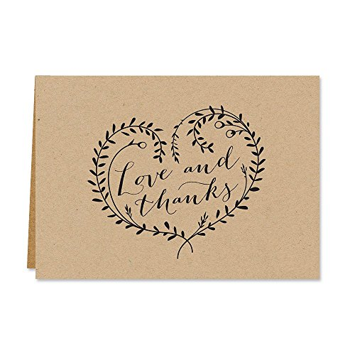 Kraft Love and Thanks Thank You Note Card Pack - Set of 36 cards blank inside - with Kraft envelopes