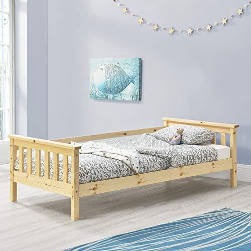 [en.casa] Kinderbett mit Stauraum 70x140 cm Jugendbett bis 50 kg mit Lattenrost Kojenbett Kiefernholz Natur