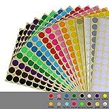 Runde Punkt-Aufkleber,16mm Kleine Runde Punkt-Aufkleber Klebrige Farbkodierung-Aufkleber,16 Verschiedene Sortierte Farben,16 Blätter