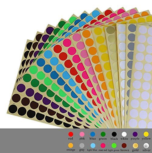 Tweal Pegatinas Redondas Colores,16 Hojas Etiquetas Adhesiva