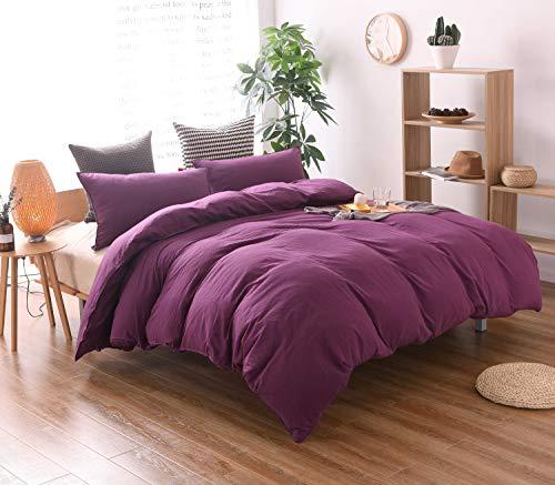 MSDMY Bettbezug-Set, 100% gewaschene Baumwolle, 3-teiliger Anzug, ultraweich und pflegeleicht, schlichter Stil Bettwäsche-Set Full Violett