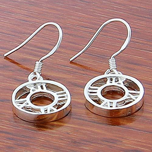 DJMJHG Pendientes de joyería 925 Pendientes Colgantes de Plata Romanos Redondos para Mujer Pendientes chapados en Plata de Moda Joyería