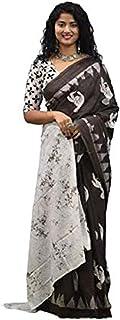 ساري مومول قطني للنساء من آيكات بني اللون مطبوع عليه كتلة اليد جايبيوري مع بلوزة قطعة باللون البني