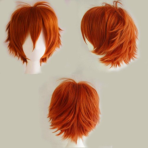 S-noilite Unisex Short Straight Hair Wig Anime Party Cosplay Warped Full Wigs for Women Men Boy Girls (Dark Orange) by S-noilite