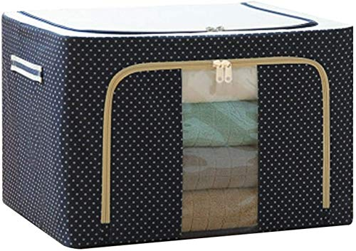 ADICOM Oxford Fabric Storage Box with Steel Frame,for Clothes Bed Sheets Blanket Pillow Shoe Holder Container Organizer,Foldable with Sturdy Zipper,Clear Window(40 * 30 * 20cm) G