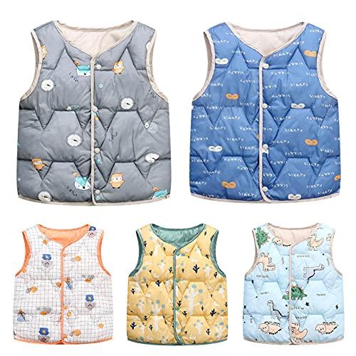 Toddler Baby Boys Girls Light Weight Down Vest Kids Cartoon Sleeveless Winter Jacket Warm Puffer Down Coat Beige