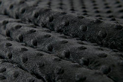 MINKY DOT – flauschiger Plüschstoff mit Noppen, Fleece, Meterware - Schwarz