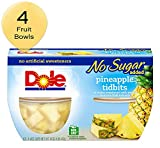 DOLE FRUIT BOWLS, Pineapple Tidbits in Water, No Sugar Added, 4 Cups