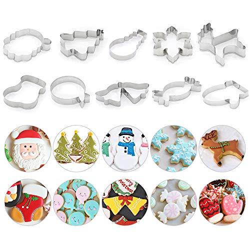 FGRYB Kerst Cookie Cutter Set van 10 stuks, RVS Leuke Bakvorm voor het maken van Muffin Biscuit - Sneeuwpop, Sneeuwvlok, Snoepriet, Kerstboom, Rendier, Kerstman, Handschoenen, Sokken, Bell