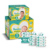 Pampers Baby Diapers and Wipes Starter Kit (2 Month Supply) - Swaddlers Disposable Baby Diapers Sizes 1 (198 Count) & 2, (186 Count) with Sensitive Water-Based Baby Wipes, 1 Count (Pack of 1)