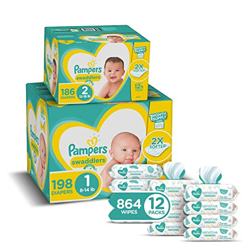 Pampers Baby Diapers and Wipes Starter Kit 2 Month Supply  Swaddlers Disposable Baby Diapers Sizes 1 198 Count amp 2 186 Count with Sensitive WaterBased Baby Wipes 1 Count Pack of 1