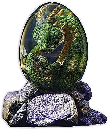 ZHEYANG Juguetes Dinosaurios Adornos de Escultura Hechos a Mano de Resina de Huevo de dragn Transparente de Cristal coleccin Amantes de la fantasa del dragn Model:G01409(Color:Gr