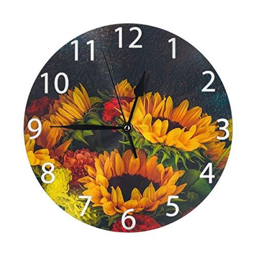 Oh Sweety Retro Dahlia and Sunflower - Reloj de pared redondo, silencioso, funciona con pilas, fácil de leer, para estudiantes, oficina, escuela, hogar, decoración