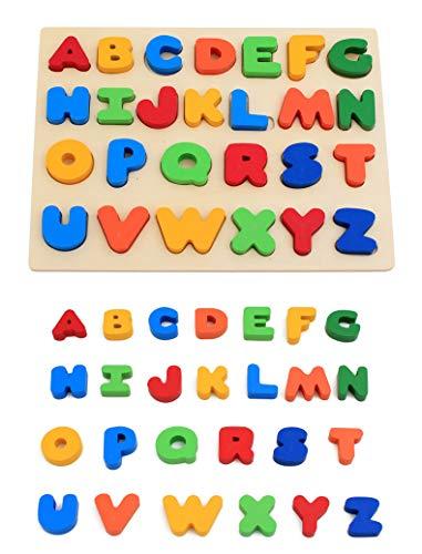 KanCai Bloques de Madera del ABC Alfabeto Bloques de Colores Puzzle Letras Madera Aprendizaje temprano Juguetes de Madera educativos para bebé