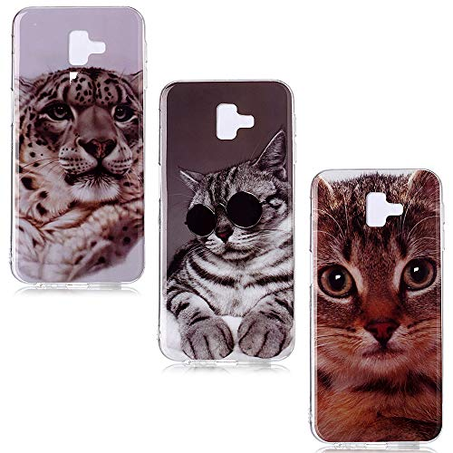 QC-EMART 3 Coques pour Samsung Galaxy J6 2018 Plus Motifs Imprimé, Samsung J6+ 2018 Coque Silicone Transparente Souple TPU Ultra Fine Anti Choc Etui de Protection Jaguar Chat Jaune Chaton