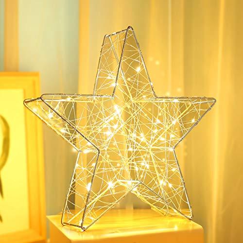 Luxspire Luz de Estrellas, Compuestas por Bobinado de Alambre, 50 Luces LED Amarillas Cálidas, Adecuada para Fiestas, Decoración de Dormitorios, Navidad, Bodas, Regalos para Amigos