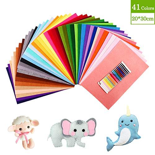 SOLEDI 41 Farben Filzstoff Weich Filztuch Geeignet für Nähen, 20 * 30cm Felt Fabric Filzplatten zum DIY Handwerk Nähen Projekte Patchwork