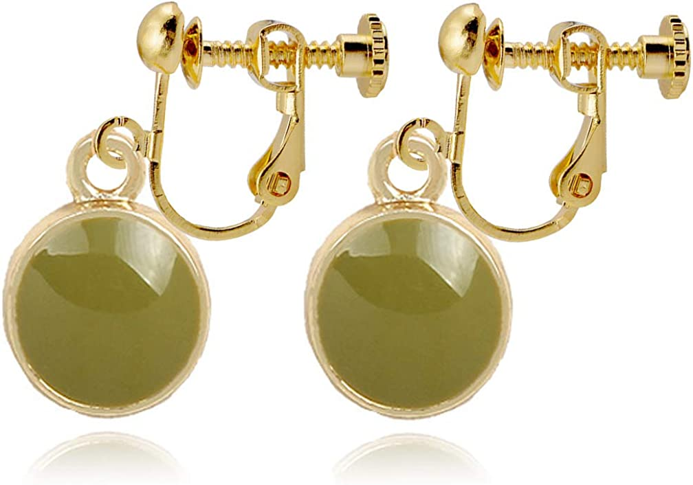 Clip on Earrings Charm Simple Green Round Dangle for Women Girls no Piecred Gold Tone Lightweight