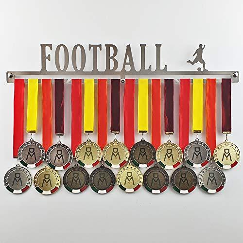 Football - Medagliere da Parete - Porta medaglie Calcio, Soccer - Sport Medal Hanger - Display Rack (600 mm x 100 mm x 3 mm)