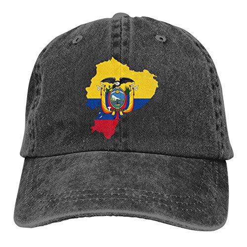 63251vdgxdg Gorra de béisbol ajustable para hombre, diseño de mapa de Ecuador, color negro