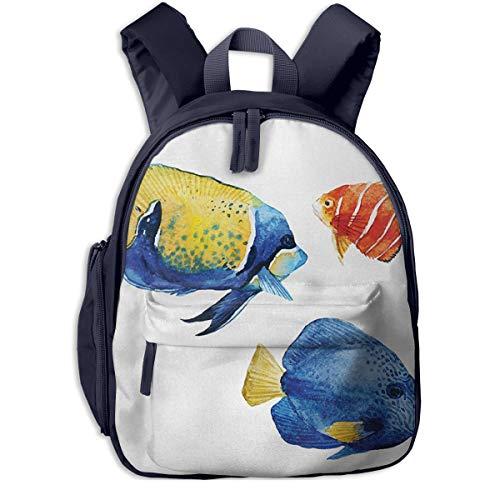Kinderrucksack Aquarium Leben Diskus Fisch Goldfisch Babyrucksack Süßer Schultasche für Kinder 2-6 Jahre