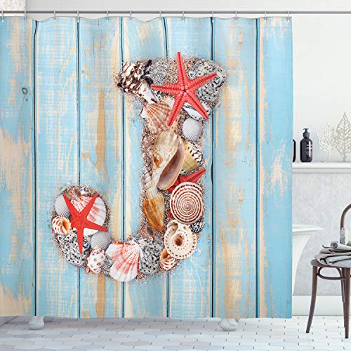 """Ambesonne Letter J Shower Curtain, Summer Holiday on Tropical Beach Theme J Rustic Old Wood Planks, Cloth Fabric Bathroom Decor Set with Hooks, 75"""" Long, Blue Ivory J"""