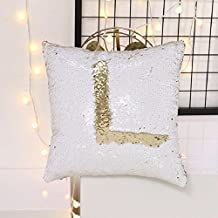 Okayji Sequin Mermaid Throw Pillow Cover with Magical Color Changing, 1-Piece, Golden