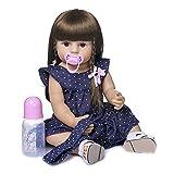 Aabbcdf Poupées Réalistes De Bébé Reborn Look Real Girl Soft Silicone Vinyle Reborn Toddler Baby Doll avec des Cheveux Longs, Nouveau-Né Bébé Fille Jouet Meilleur Cadeau De Noël,Blue Eyes