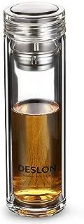 DESLON Borosilicate Double Layer Glass Bottle with Filter Leak Proof Heat Resistant Tea Cups 12oz(BPA-Free Glass)