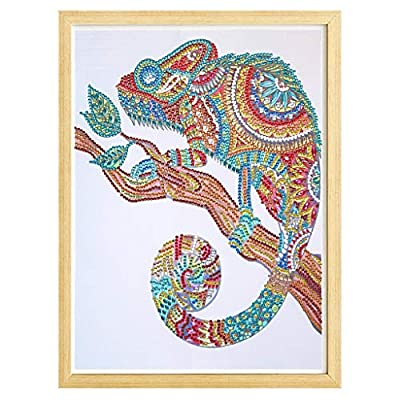 Luccase Special Shaped Diamond Painting DIY 5D Partial Drill Cross Stitch Kits - Colorful Lizard Crystal Rhinestone of Picture Diamond Embroidery Arts Craft Christmas Gift by Luccase