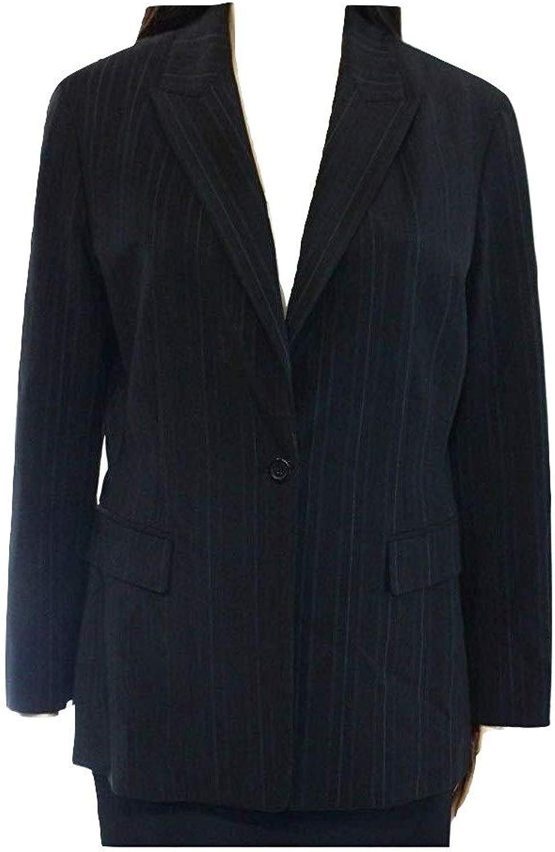 Elie Tahari Women's Pinstriped OneButton Blazer Suit Jacket Black Size 2