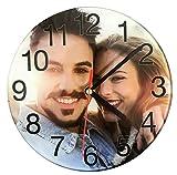 MakeThisMine - Reloj de pared de cristal endurecido personalizado impreso con imagen o logotipo de tu elección para Lovedones cumpleaños bodas aniversarios vacaciones ocasiones especiales de 29cm
