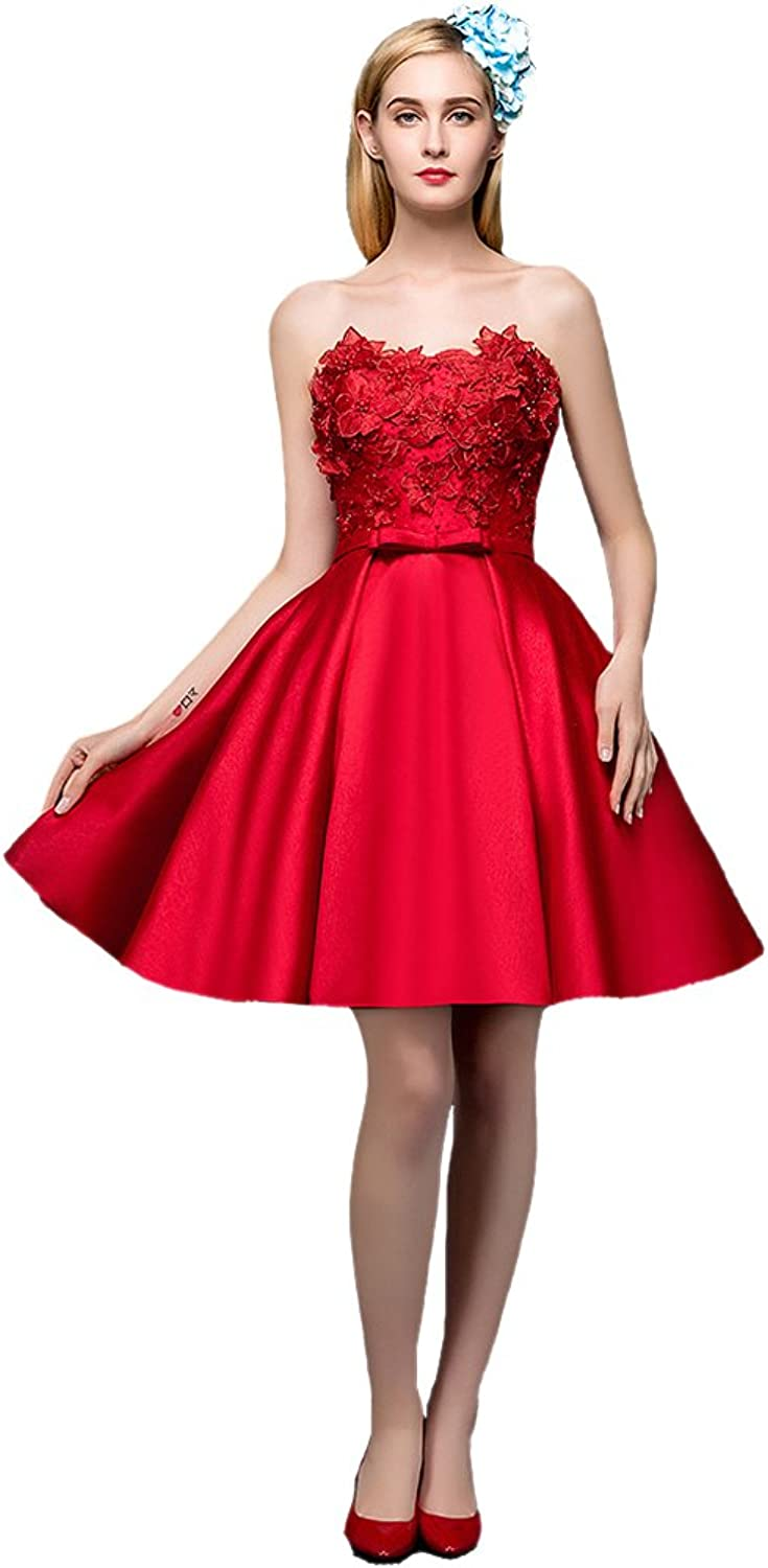 AK Beauty Women's Sleeveless Beading Appliques Lace up Mini Prom Gown