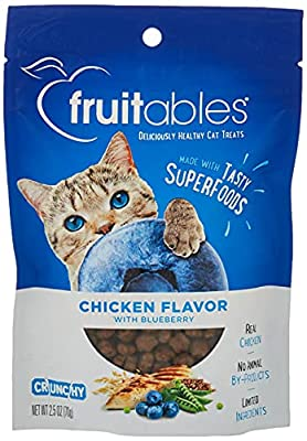 Fruitables Chicken and Blueberry Crunchy Cat Treats   Healthy Cat Treats with Limited Ingredients  Low Calorie   2.5 Ounces, Model Number: 1030607