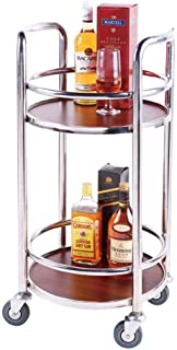 WHJ@ Hotel Restaurant Delivery Car Solid Wood Wine Cart Tea Water Cart Snack Car Cake Car 2-Layer Mobile Metal Kitchen Cart, Stainless Steel Delivery Van