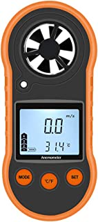 PiscatorZone Pocket Anemometer Handheld Mini Wind Speed Temperature Gauge with Thermometer LCD Backlight for Windsurfing Kite Flying Sailing Surfing Fishing
