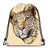 N / A Drawstring Backpack Damen Herren,Verstellbar Sport-Beutel,Kordelzug Rucksack Tasche,Jugendliche Drawstring Bag,Gravur Leopard Skizze Linear Art Folding Cinch Bag Taschen Schulrucksack