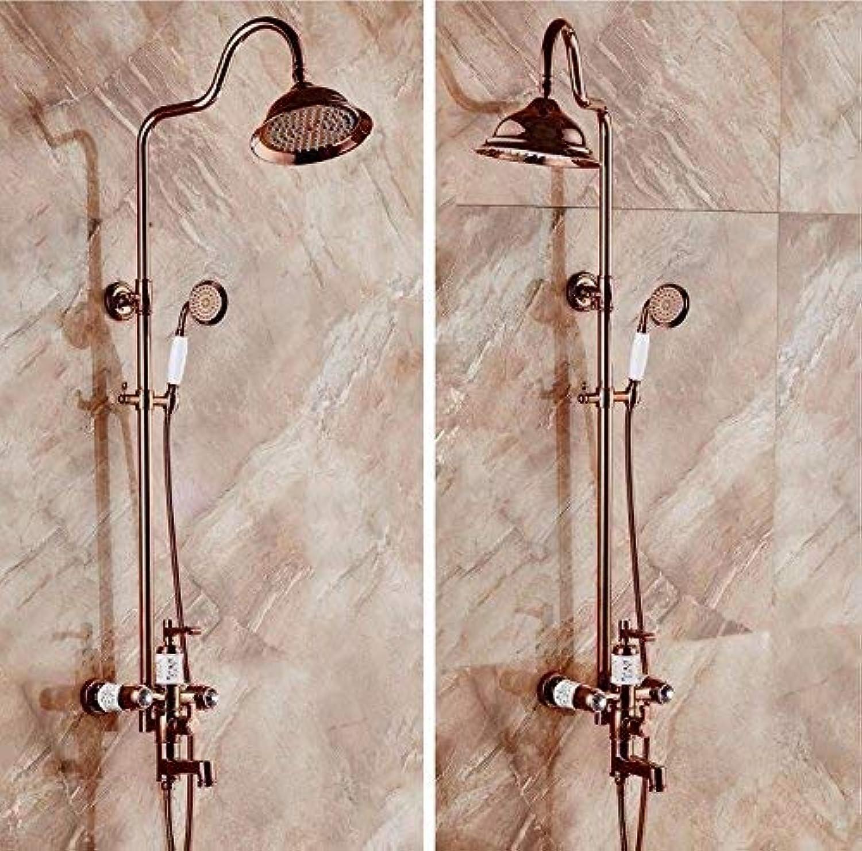 Dusche Dusche Kupfer RoséGold Duschset Dritter Gang Schalten Wasser Heben Badezimmer Dusche Handbrause Dusche Mischbatterie