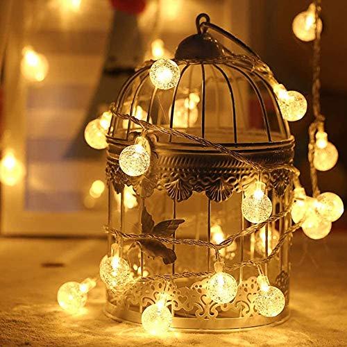 6M40er LED Batterie Lichterkette, Fernbedienung 8 Modi IP65 Wasserdicht Kugel Lichterketten, für Innen und Außen dekoration, Hochzeiten-Warmweiß,Weihnachten