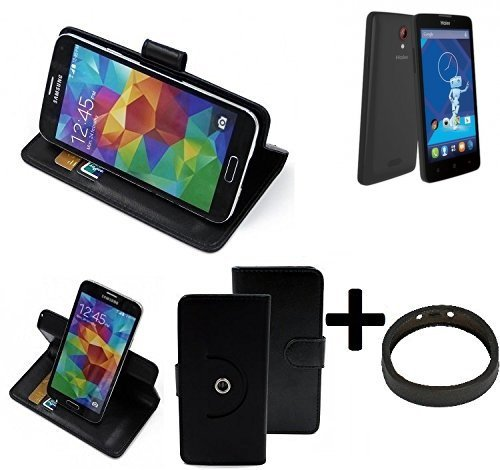 K-S-Trade® Case Schutz Hülle Für Haier Phone L52 + Bumper Handyhülle Flipcase Smartphone Cover Handy Schutz Tasche Walletcase Schwarz (1x)