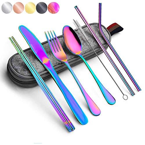 Juego de cubertería de viaje Rainbow con funda de acero inoxidable para cubiertos, juego de vajilla colorido, reutilizable, portátil, utensilios, cubierta, incluye cuchillo, tenedor, cuchara, pajita