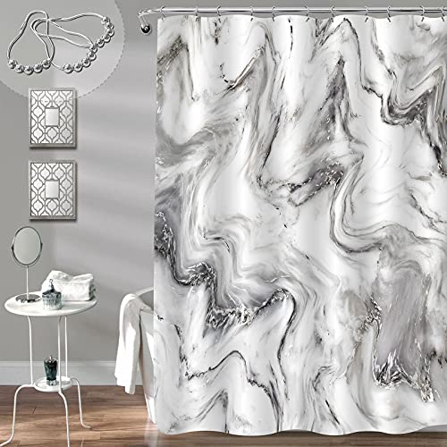 """Gibelle Grey Marble Shower Curtain for Bathroom, Abstract Granite Marble Stone Ink Texture Artwork, Modern Luxury Decorative Fabric Bathroom Decor for Men and Women, 72"""" W x 72"""" L"""